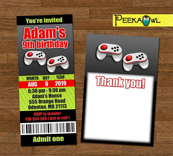 Personalize boys video games invitation ticket video games personalize boys video games invitation ticket video games birthday invitation boys birthday party and free video games thank you card video games stopboris Images