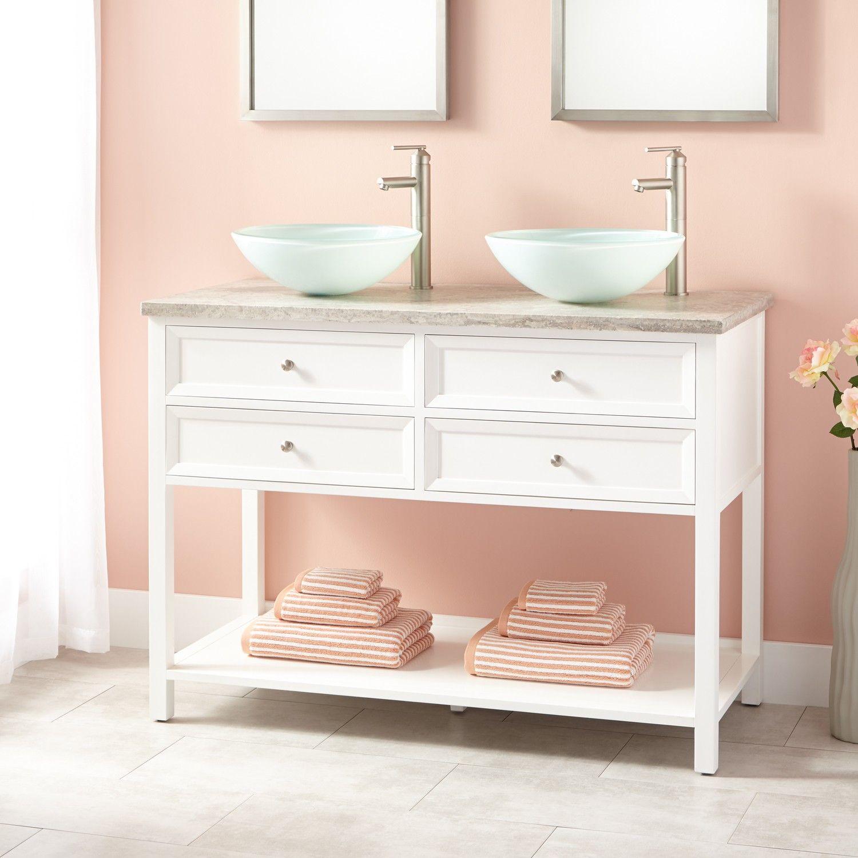 48 Wynne Double Vessel Sink Vanity White Double Sink Bathroom