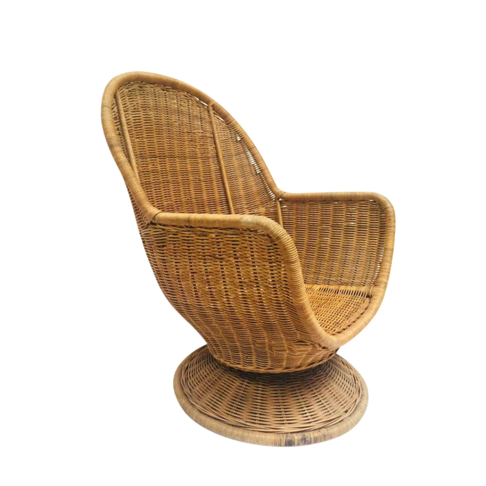 1980s Vintage Sculpted Rattan Egg Chair Swivel Wicker Club