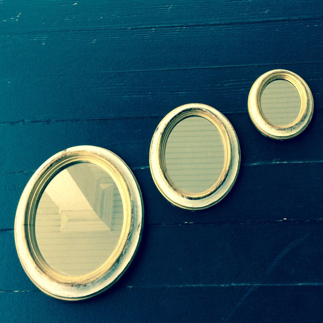 vintage gold white small italian oval mirrors set of three