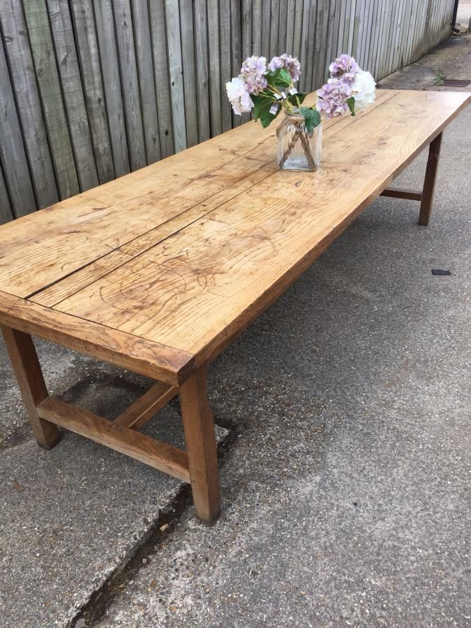 Ash antique French farmhouse table with three plank top