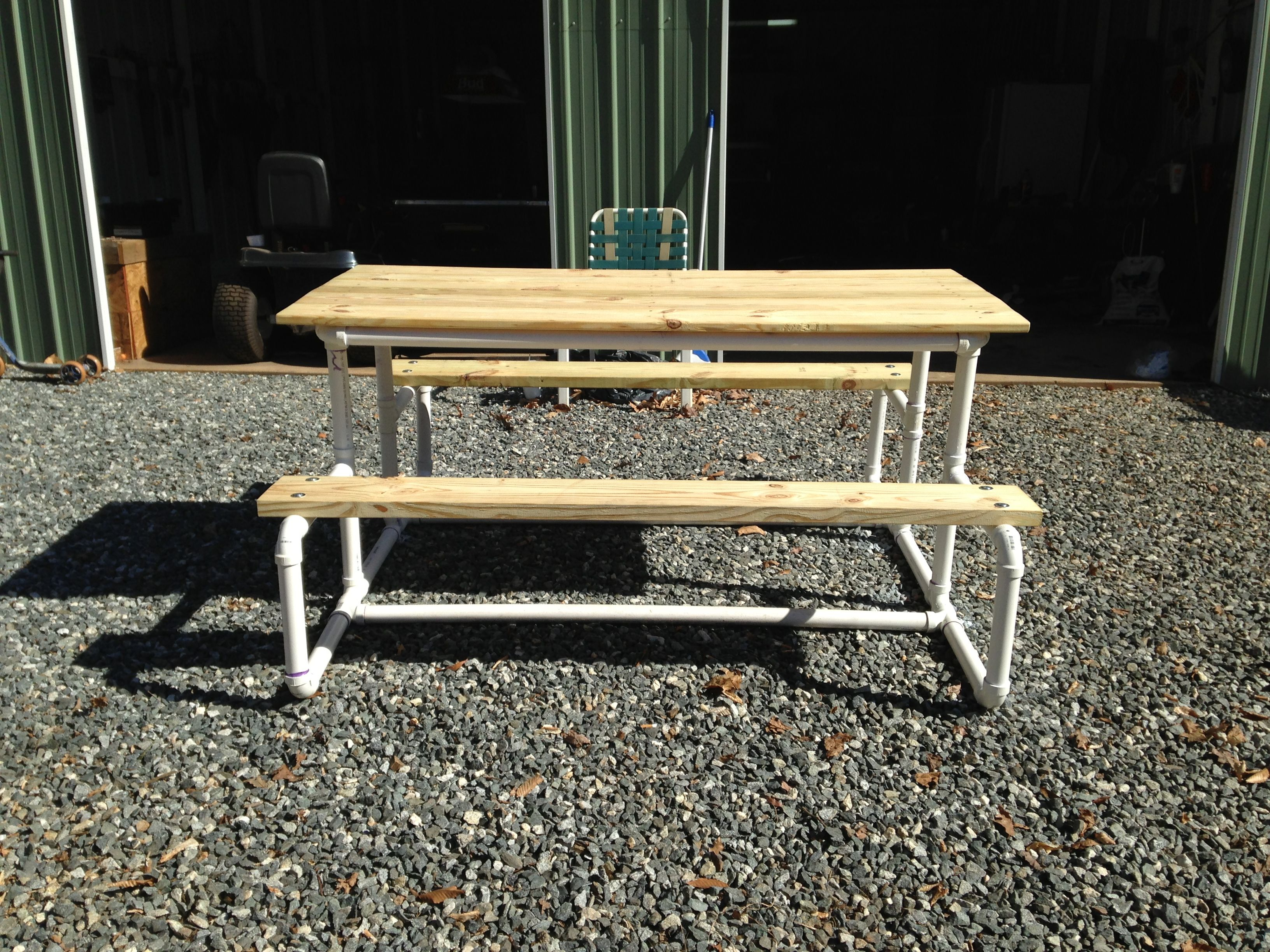 Wonderful Picnic Table Make With PVC Pipe   Could Do With Plumbing Metal Pipe