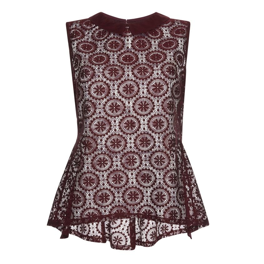Primark - Burgundy lace fishtail top