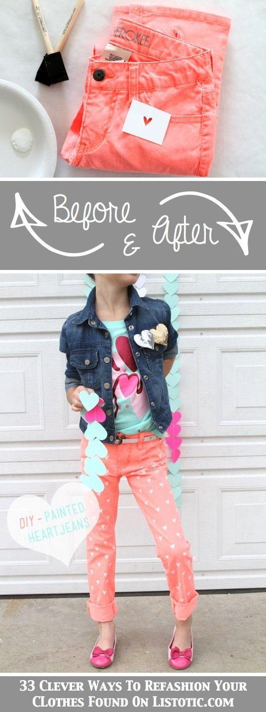 Painted jeans...love this idea for kids clothes. My nieces would dig this.