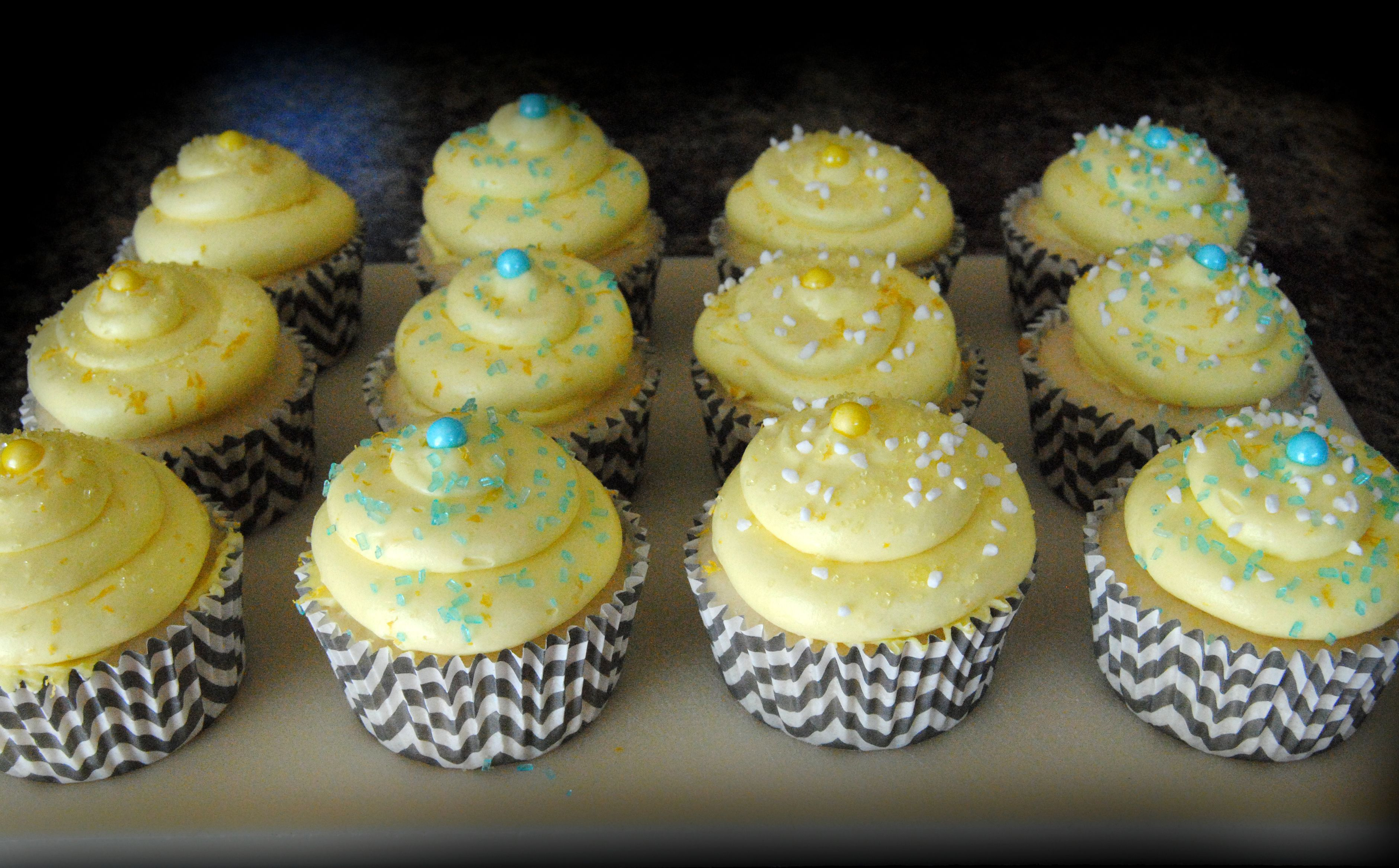 Aqua, yellow & grey chevron stripe Baby Shower Cupcakes - Lemon Cupcakes - Baby Shower - ORDER CUSTOM CUPCAKES in Kenosha, WI & Northern IL... Birthday - Shower - Baby - Wedding - graduation - party - all occasions - holidays - https://www.facebook.com/StefsEvents