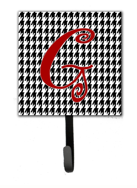 Letter G Initial Monogram - Houndstooth Black Leash Holder or Key Hook