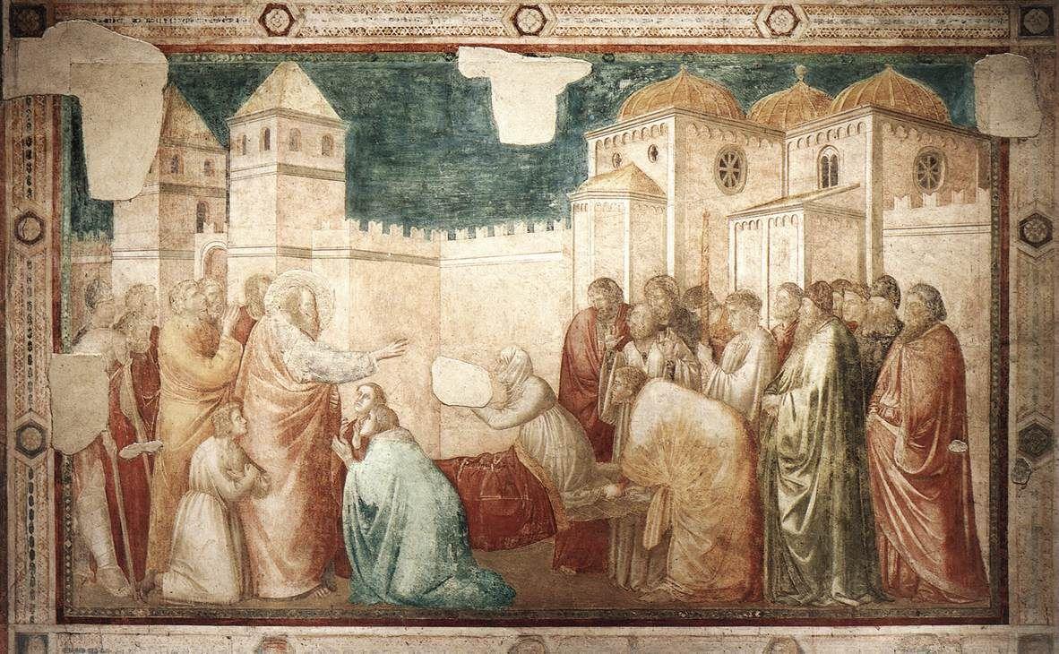 GIOTTO di Bondone Scenes from the Life of St John the Evangelist: 2. Raising of Drusiana 1320 Fresco, 280 x 450 cm Peruzzi Chapel, Santa Croce, Florence