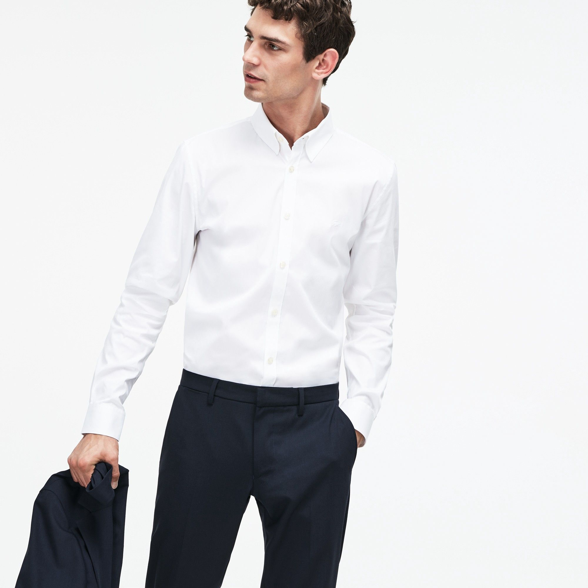7b8a695efe Lacoste Men's Slim Fit Stretch Cotton Poplin Shirt - White 15 38 ...