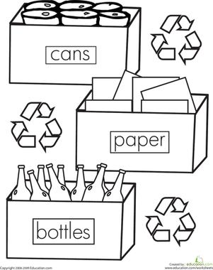 Color the Recycling | Worksheets, Coloring worksheets and Activities