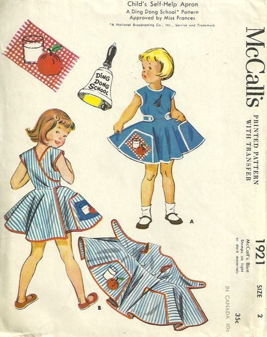 Ding Dong School 1950s McCalls 1921 Self Help Apron Pattern for ...