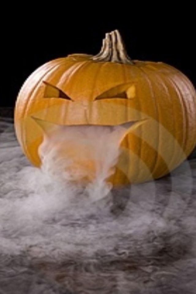 Dry ice inside the pumpkin