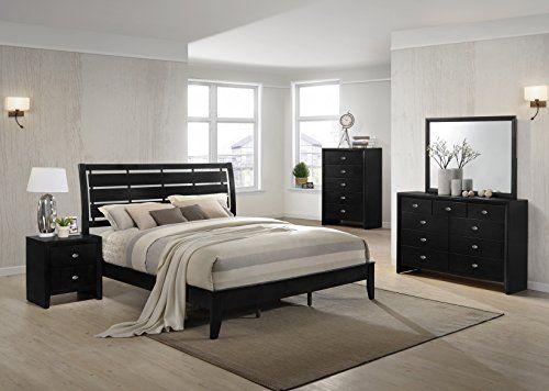 Gloria Black Finish Wood Bed Room Set Queen Bed Dresser Mirror