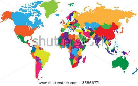 Colored map of world with countries borders by Volina via