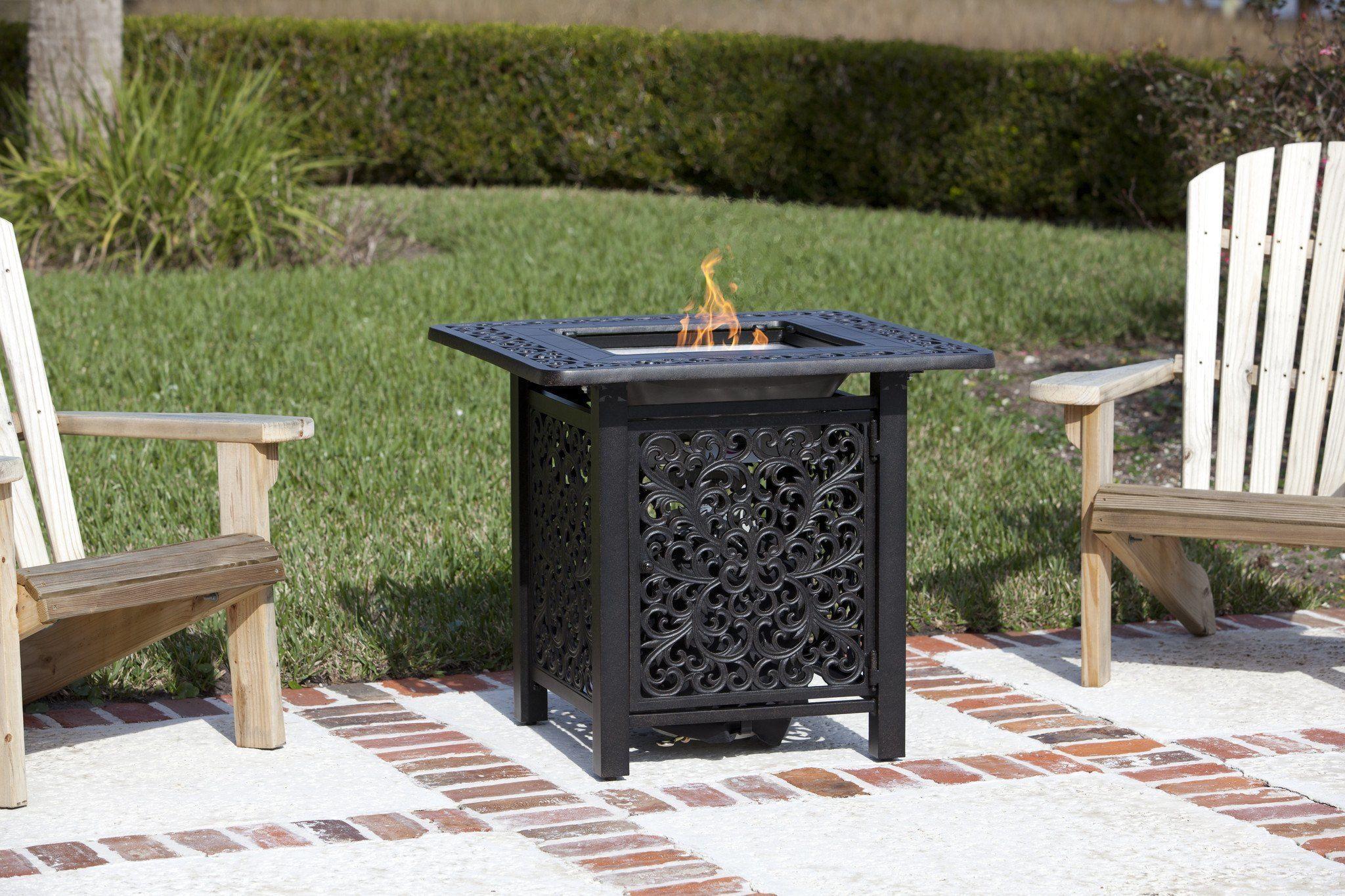 fire sense 32 inch sanremo cast aluminum bistro lpg fire pit table