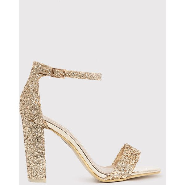 711bcd7f4da May Gold Glitter Block Heeled Sandals (1.080 RUB) ❤ liked on Polyvore  featuring shoes