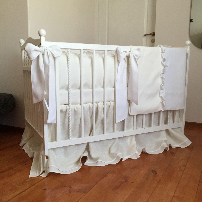 Gender neutral bedding set from natural linen Crib bedding