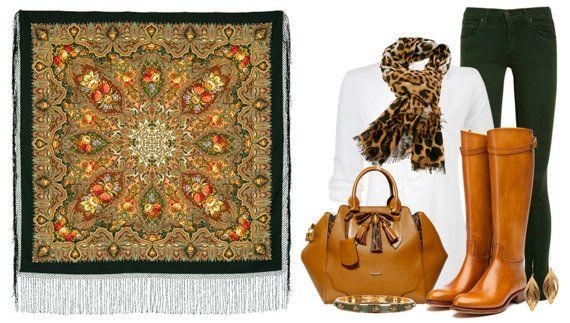 "Russian Pavlovsky Posad shawl ""Almonds"""
