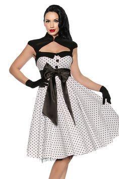 ff8545a7b4b9f Vestido Pin Up blanco de lunares. trajes negros estilo añ0s 50 pin up -  Buscar con Google