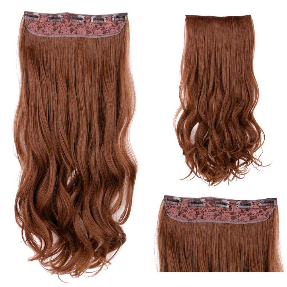 Long Wavy Clip In Synthetic Hair Extension Light Brown Red Hair
