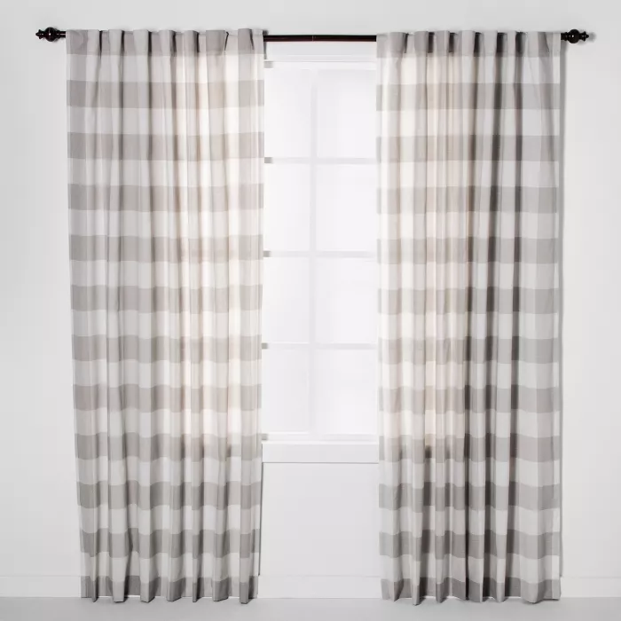 Plaid Light Filtering Window Curtain Panel Gray Cream Threshold In 2020 Panel Curtains Living Room Decor Curtains Plaid Curtains #plaid #curtains #for #living #room