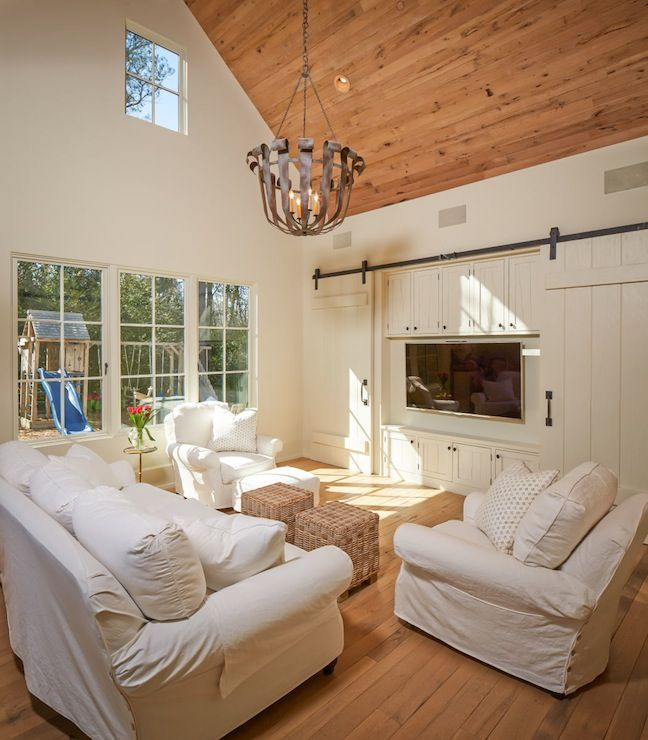 Rustic Chic Family Room two-story living room w/rustic planked ceiling | media center barn