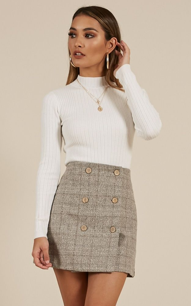 Thoughts Of You Skirt In Grey Check   Showpo