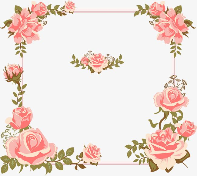 Valentine's Day Card Hand-painted Pink Rose Borders