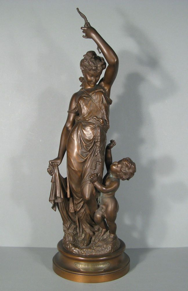 sculpture en bronze diane et cupidon signee trodoux statue femme en bronze sculpture. Black Bedroom Furniture Sets. Home Design Ideas