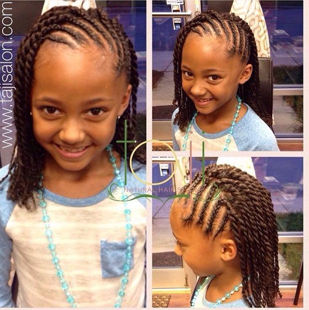 Twist Hairstyles For Kids Fascinating Kids Style Cornrows With Two Strand Twist Done