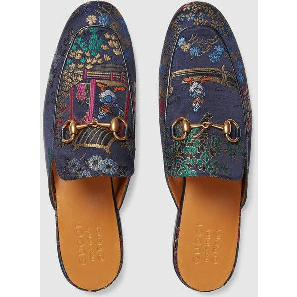5d410ea023f Gucci Princetown Jacquard Slipper With Donald Duck ( 570) ❤ liked on  Polyvore featuring men s