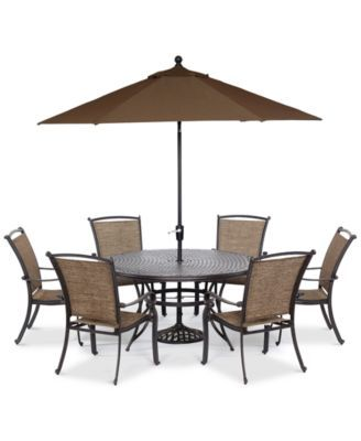 Cambrian Outdoor Cast And Aluminum 7 Pc Dining Set 60 Round