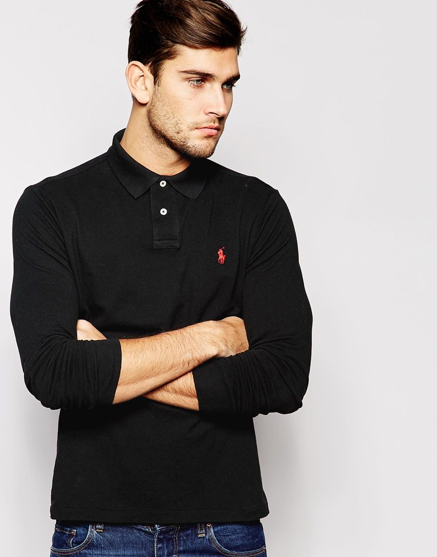 Image 1 Of Polo Ralph Lauren Long Sleeve Polo Shirt In Custom Fit