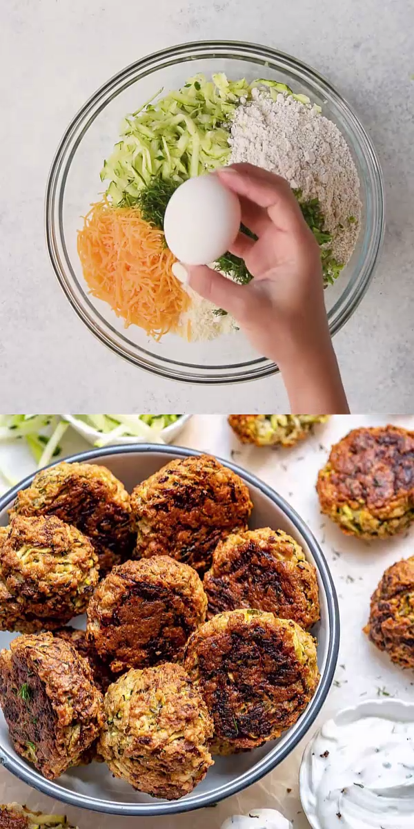 Photo of BAKED GARLIC HERB ZUCCHINI FRITTERS