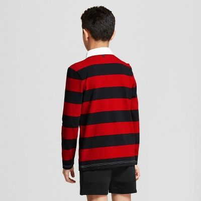 Hunter For Target Mens Striped Collared Polo Rugby Shirt Long Sleeve Red Black M