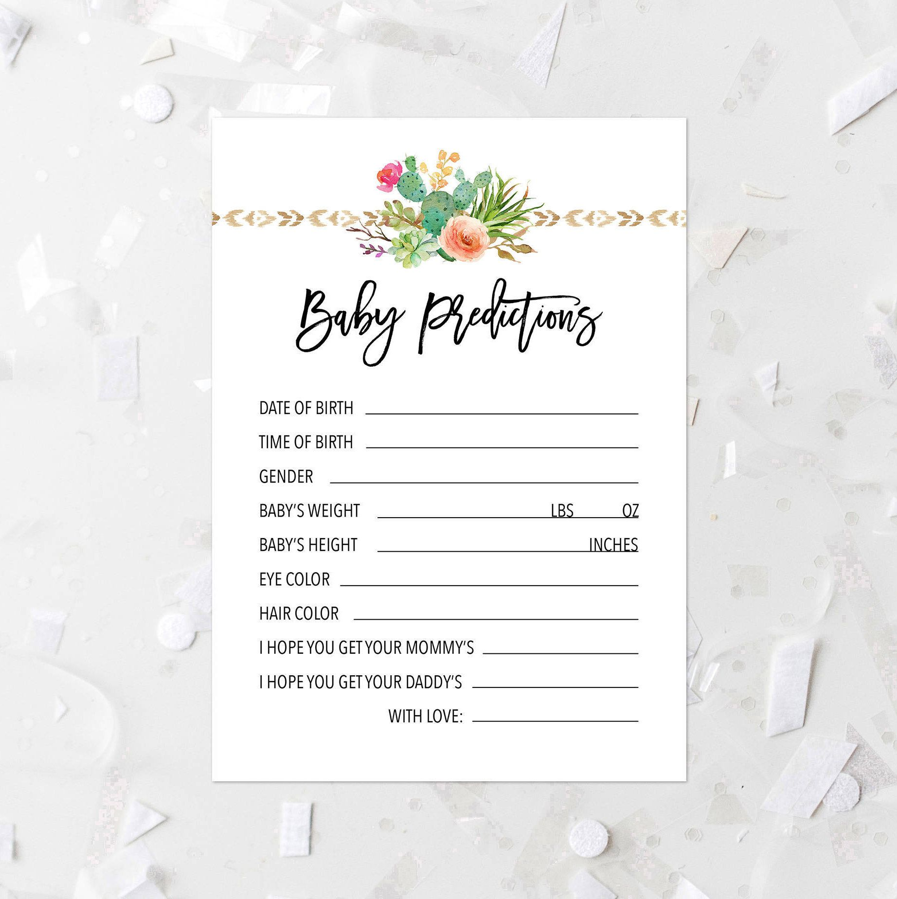 Floral Succulent Baby Predictions Game Printable Cactus Baby Shower Game Pink Baby Shower