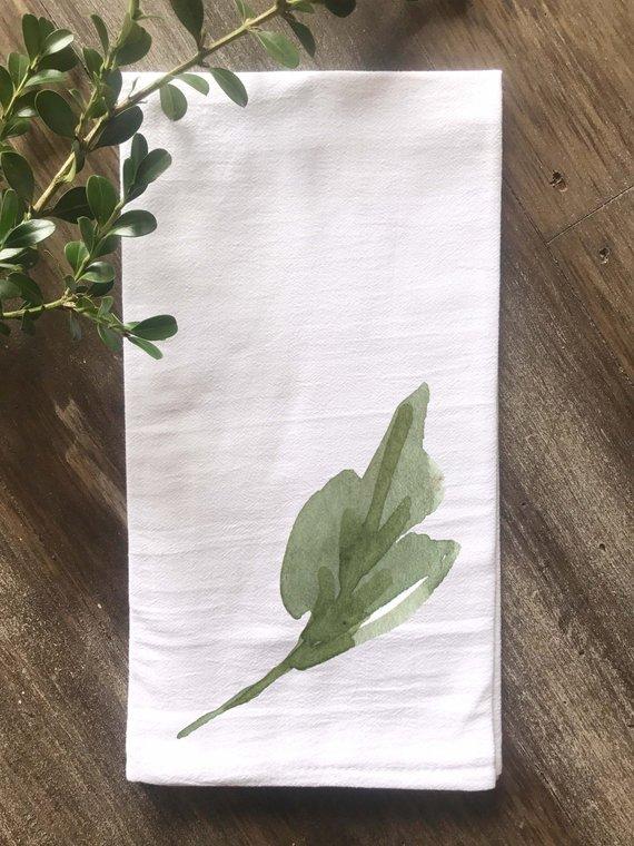 Spring Towel Watercolor Single Leaf Flour Sack Tea Towel