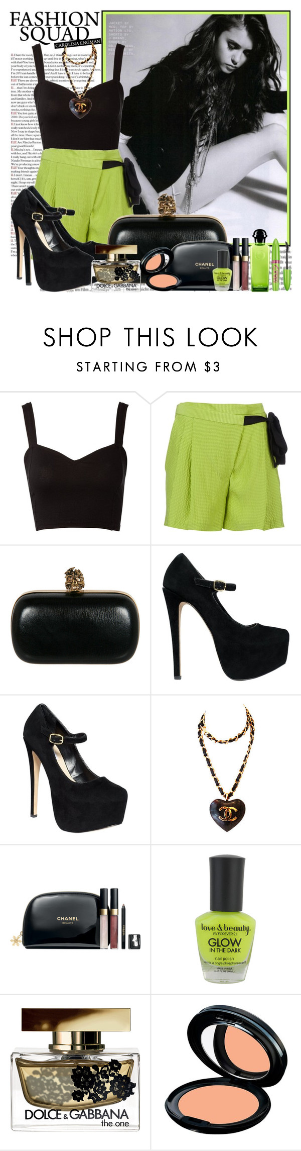 """"""".85. grass green"""" by misslie ❤ liked on Polyvore featuring Lipsy, Matthew Williamson, Alexander McQueen, Steve Madden, The Cambridge Satchel Company, Chanel, Forever 21, Dolce&Gabbana, Kanebo and Hermès"""