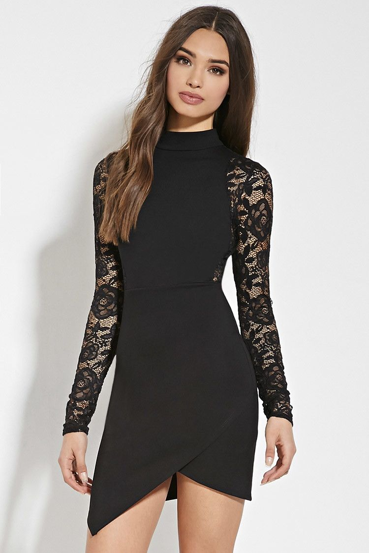 Forever 21 Floral Lace Bodycon Dress Sheer Sleeve Dress Dresses [ 1125 x 750 Pixel ]