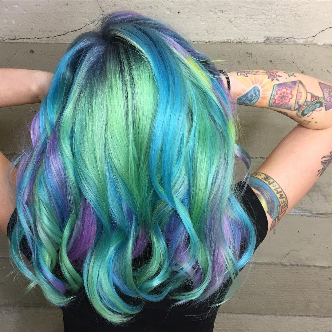 Green purple and b blue cute hair pinterest hair hair color