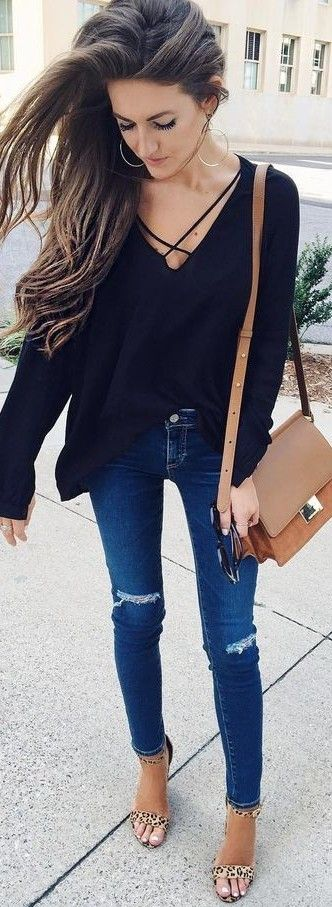 summer #preppy #outfits | Black Top Jeans Clothing, Shoes ...