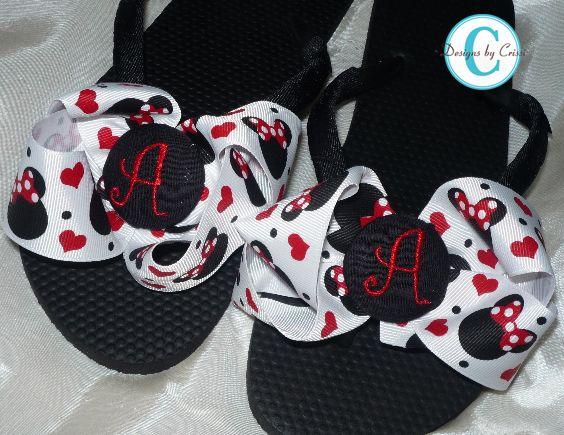 7a810234b5b7 Disney Minnie Mouse Initial Bow Flip Flops-Disney Flip Flops   Bling  Apparel
