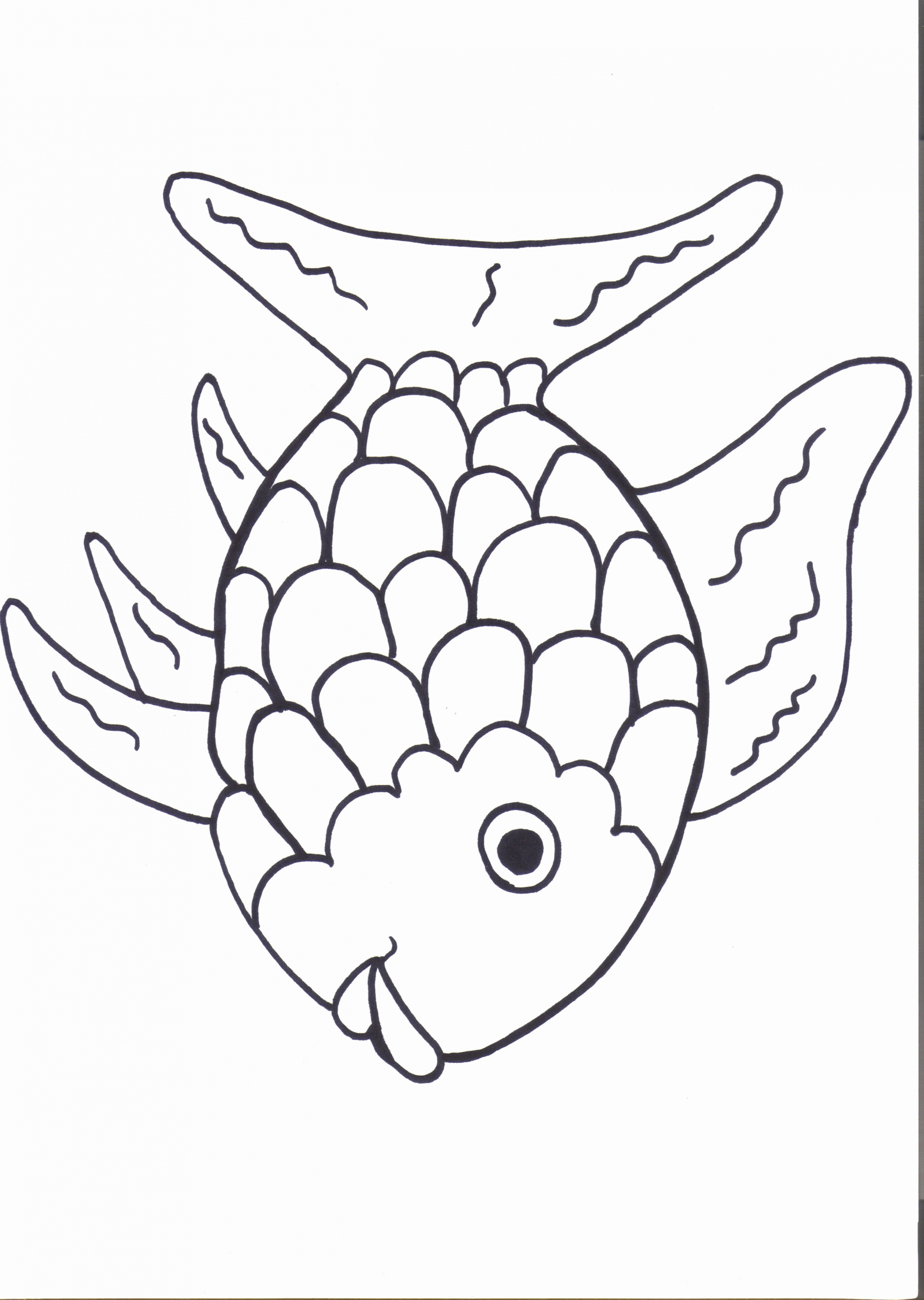 Kids Coloring Pages Detailed Fish In 2020 Rainbow Fish Coloring Page Rainbow Fish Crafts Fish Coloring Page