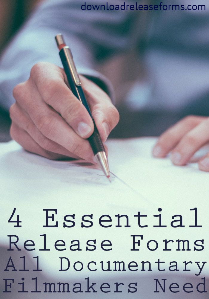 Release forms are a necessity for any documentary filmmaker to - release forms