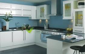 White Gloss Cupboards Black Worktop Blue Walls Kitchen Cabinets