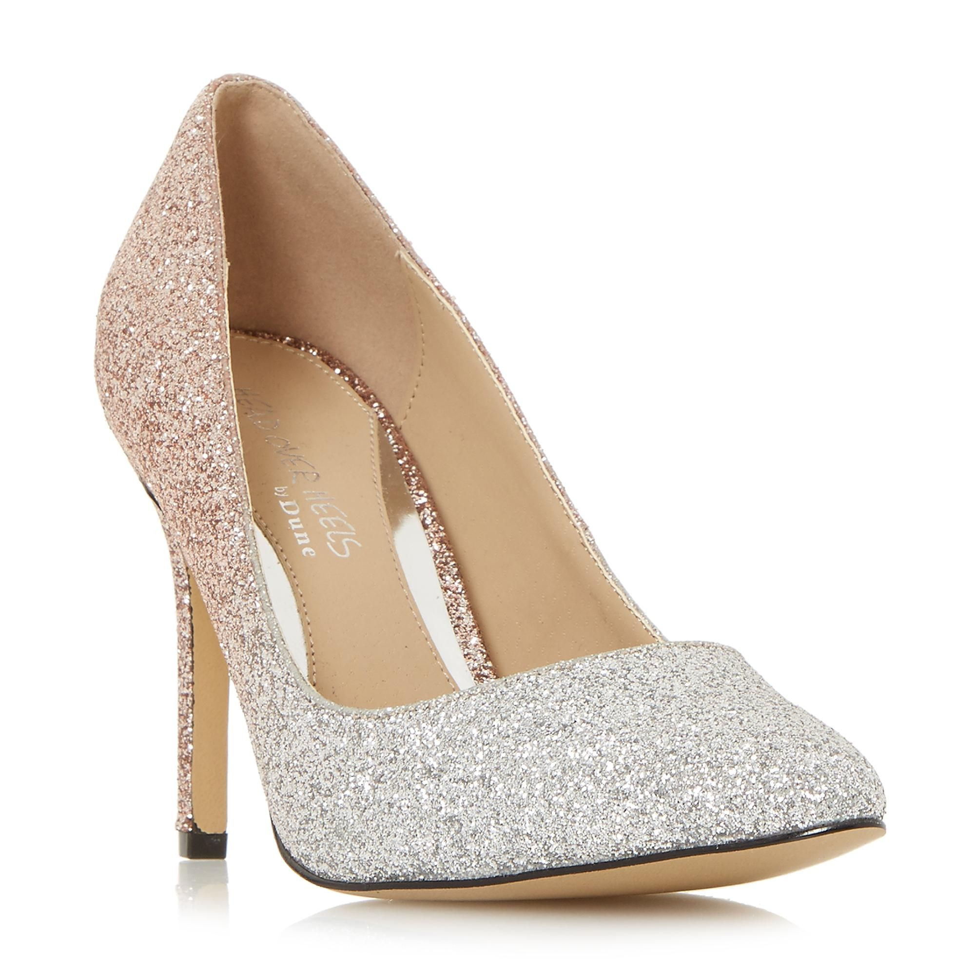 AVANDRA Ombre Glitter Court Shoe rose gold | Dune London
