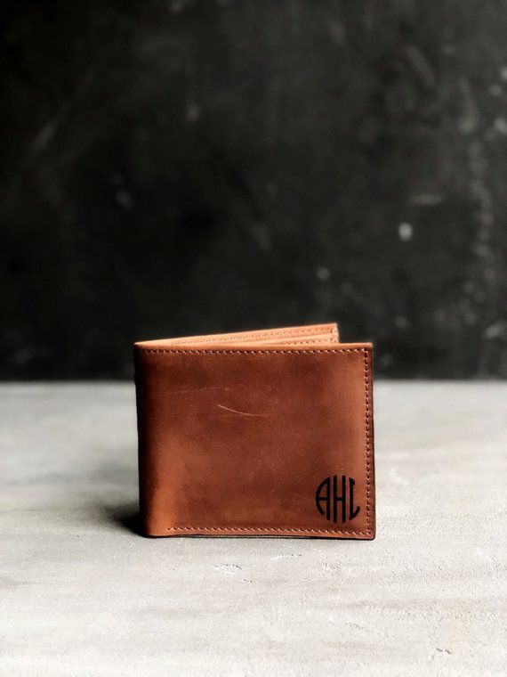 2c4fc35a78aa7 Minimalist Wallet Leather Personalized Bifold Card Wallet Mens Monogram Engraved  Wallet for Him Gift Boyfriend Anniversary Gift Christmas