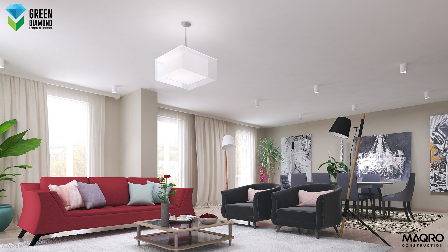 Red - white - black living room, amazing ideas. Realistic design ...
