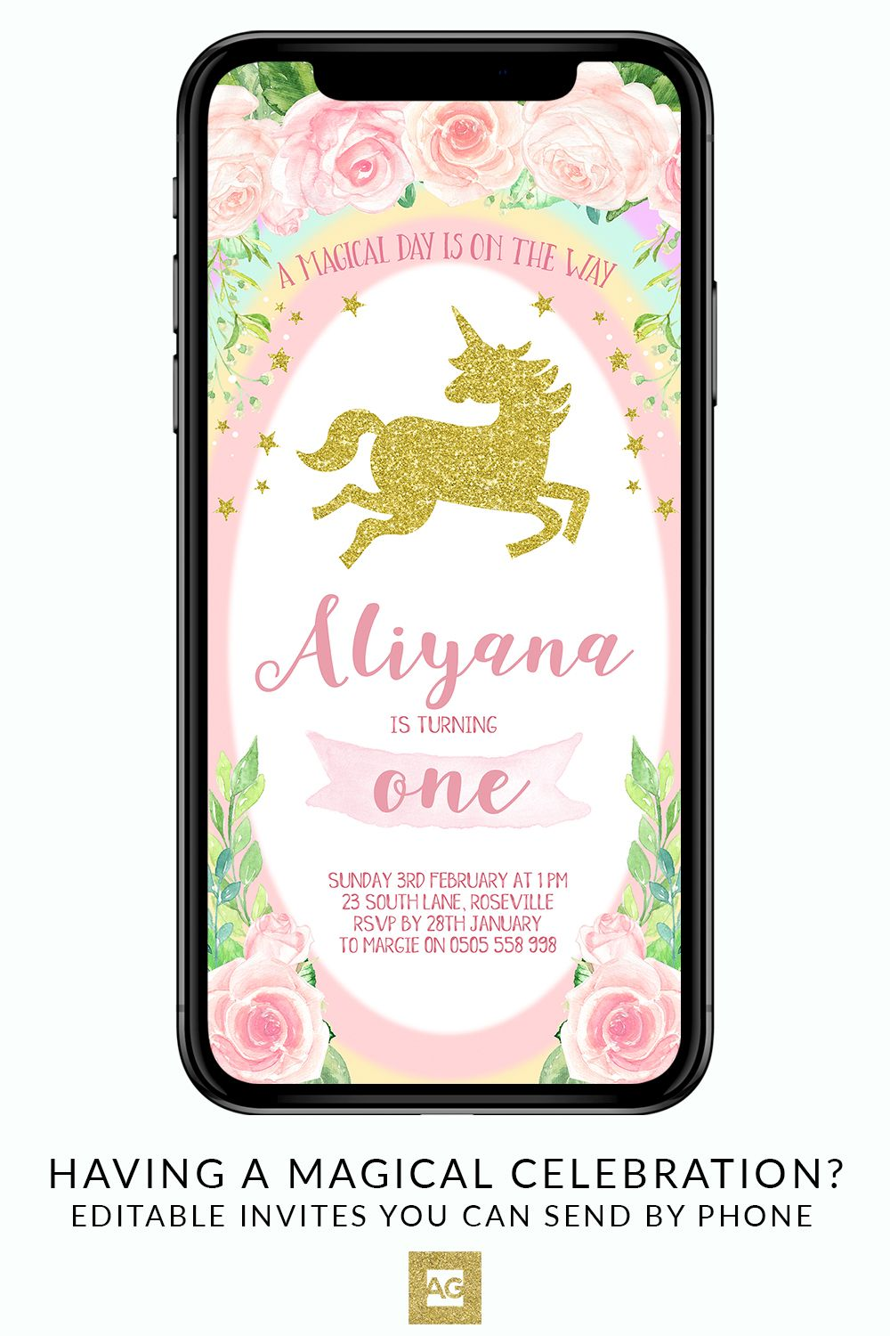 Electronic Unicorn Invitation Party Invite Birthday Evite Digital Instant Message SMS