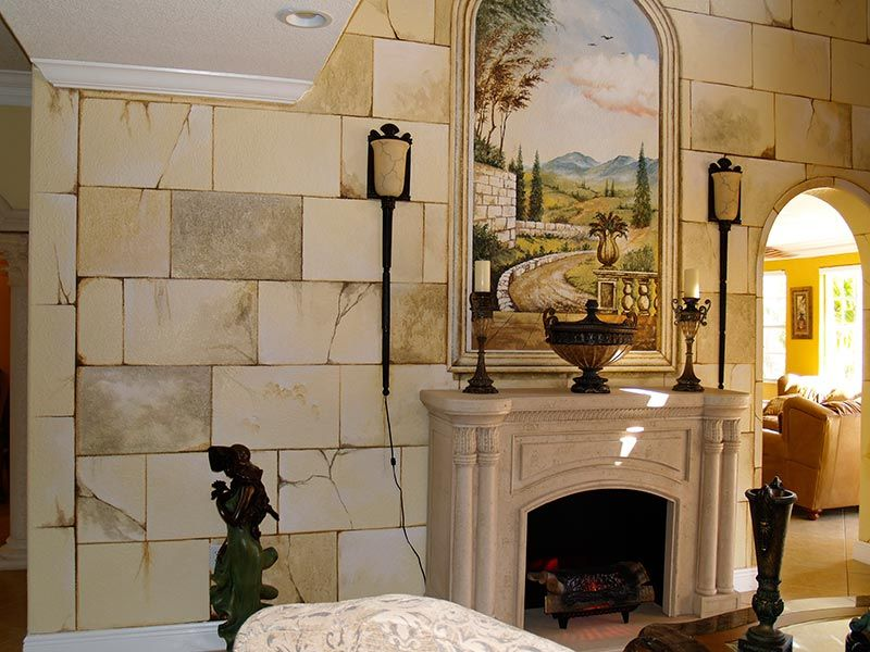 Wall Mural And Faux Stone Finish. Part 73