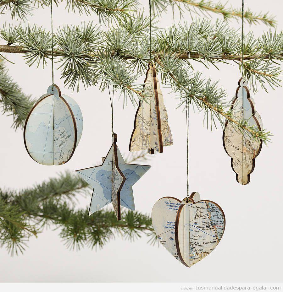 Manualidades regalar, adornos árbol Navidad estilo vintage ...